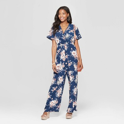 361a79c3fb43 Women s Floral Print Short Sleeve Deep V-Neck Wrap Jumpsuit - Xhilaration™  Navy
