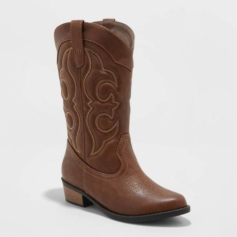Girls' Montana Zipper Western Boots - Cat & Jack™ Brown - image 1 of 3