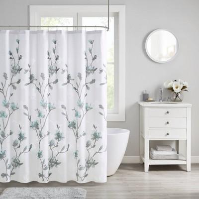 Anise Floral Printed Burnout Shower Curtain Aqua