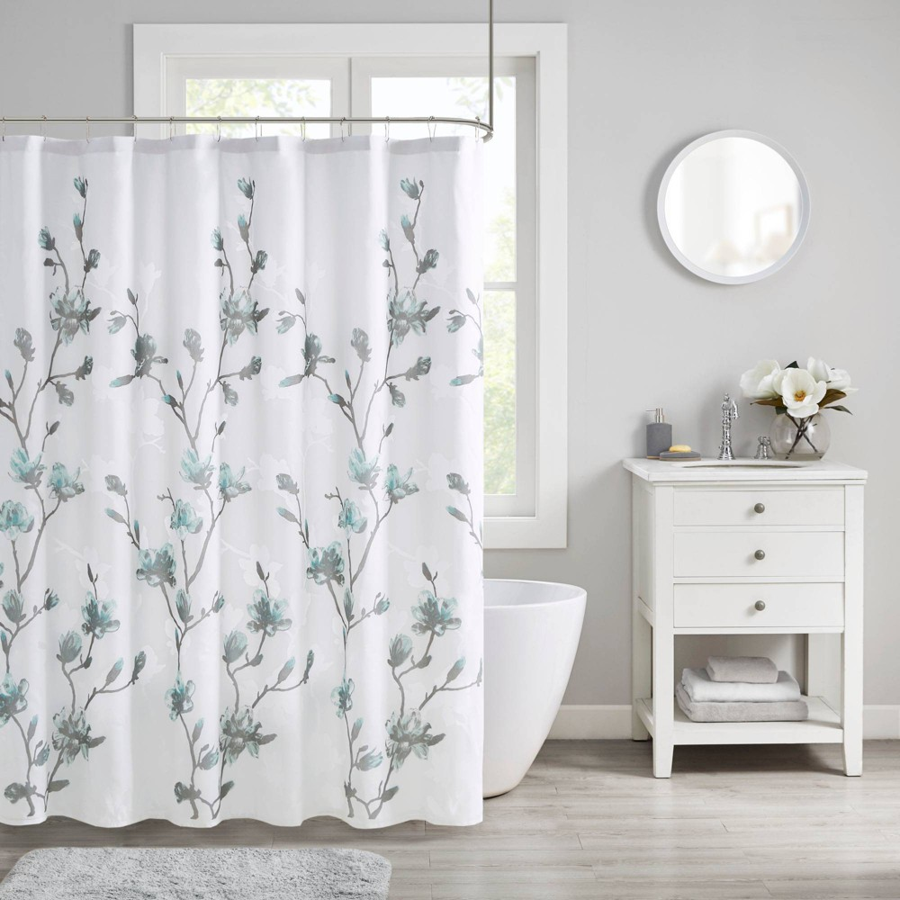 Image of Anise Floral Printed Burnout Shower Curtain Aqua, Blue