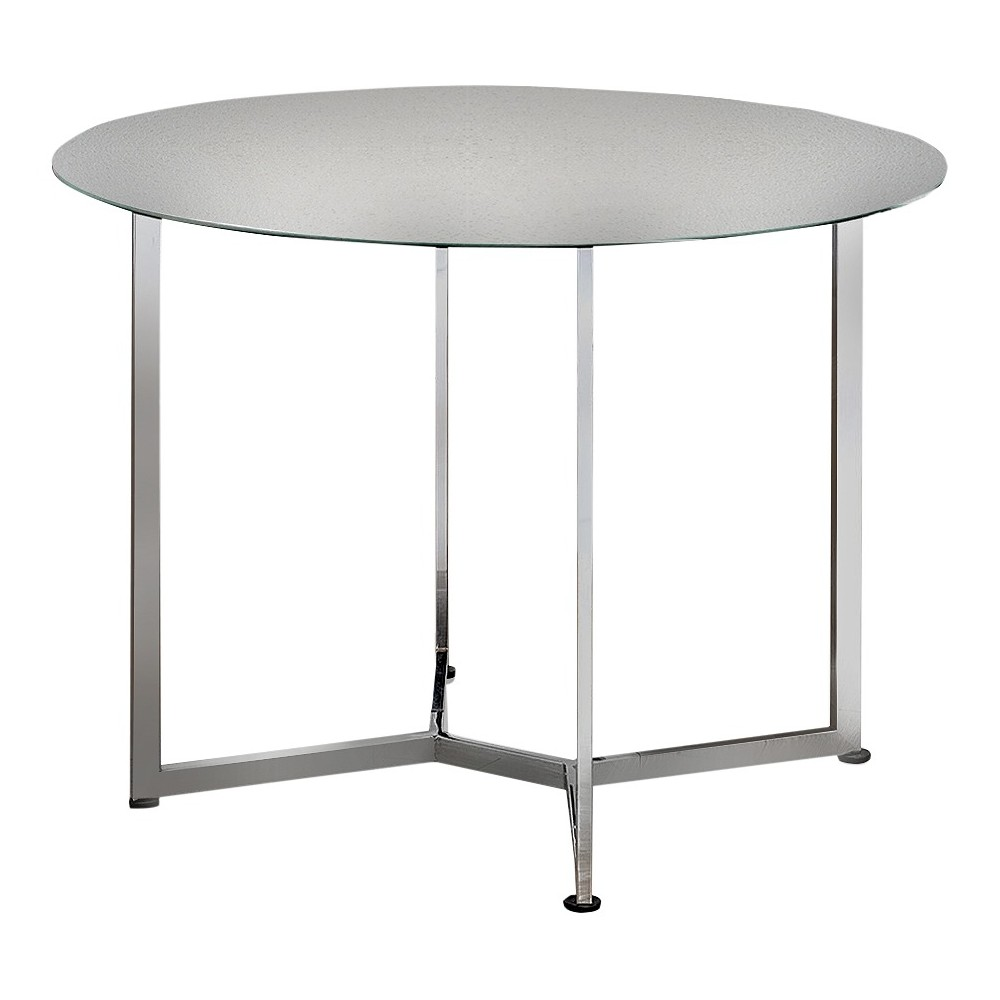 ioHomes Haven Chic Round Counter Height Table - Chrome, Shiny Silver