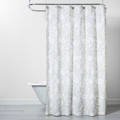 Floral Opaque Shower Curtain Gray/White - Opalhouse™