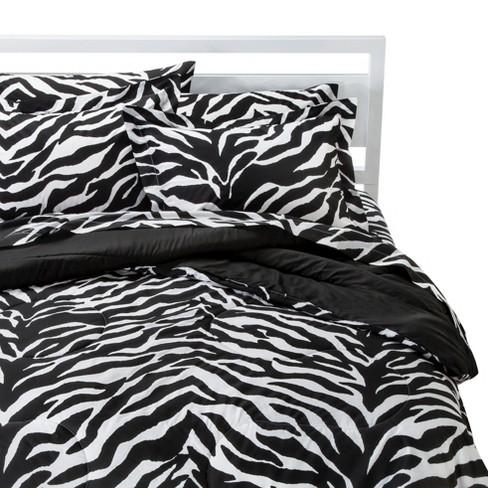 Zebra Print Comforter Set (Full) 8 Piece Black&White - Karin Maki