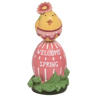 Transpac Resin 6 in. Multicolor Easter Chick on Egg Decor