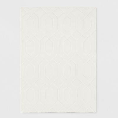 Cream Damask Tufted Area Rug 5'x7' - Project 62™