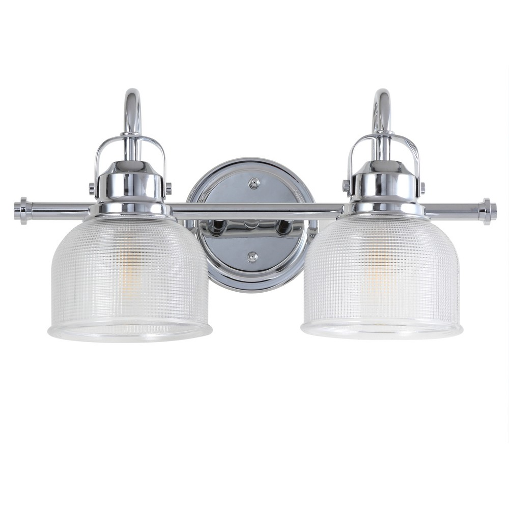 "Image of ""17.25"""" 2 Light Metal/Glass LED Vanity Wall Light Chrome - JONATHAN Y, Size: 17.25"""" 2 Lights"""