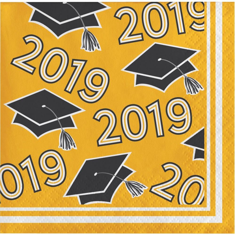 Image of 108ct Graduation School Spirit Disposable Beverage Napkins Yellow