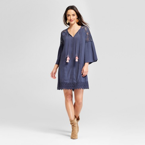 Women's Long Sleeve Lace Trim Peasant Dress - Knox Rose™ Slate Blue - image 1 of 2