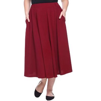 Women's Plus Size Tasmin Flare Midi Skirts - White Mark