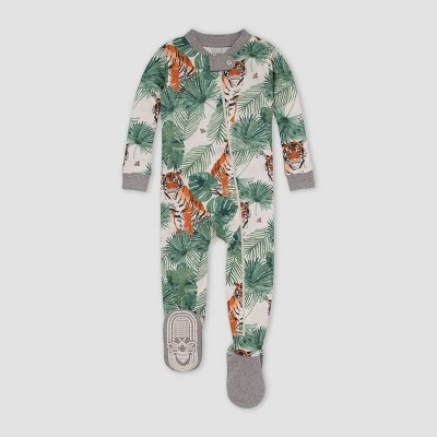 Burt's Bees Baby® Baby Boys' Tiger Foliage Snug Fit Footed Pajama - Heather Gray 12M