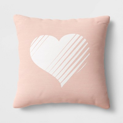 "18""x18"" Square Heart Throw Pillow Blush - Room Essentials™"