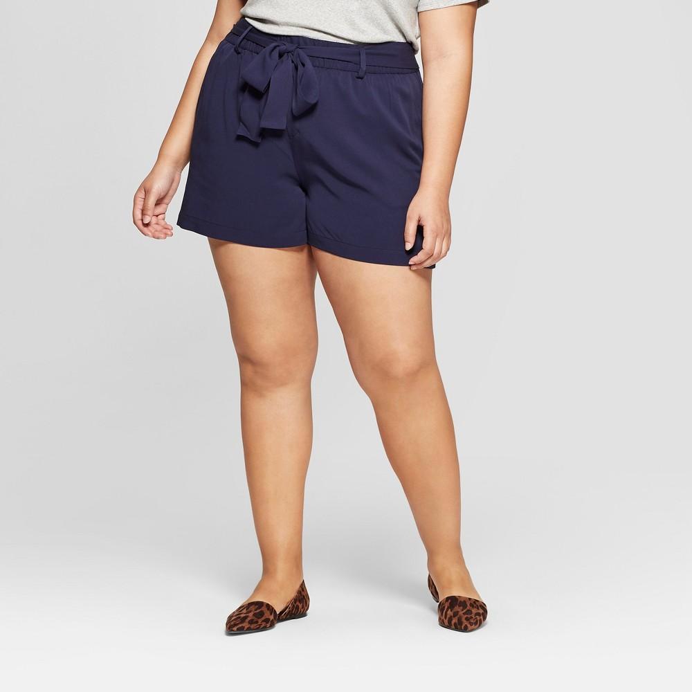 Women's Plus Size Tie Waist Shorts - Ava & Viv Navy (Blue) 20W