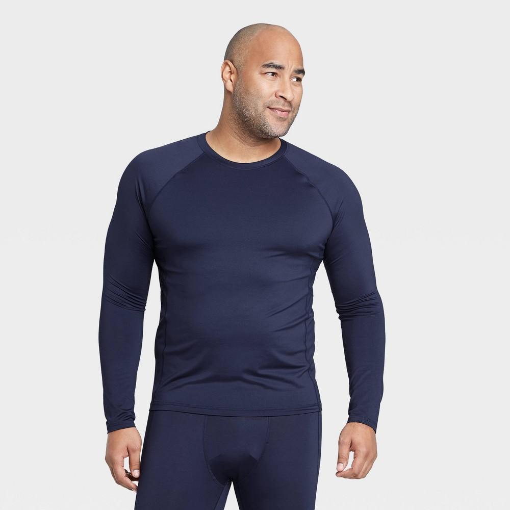 Men 39 S Long Sleeve Fitted T Shirt All In Motion 8482 Navy M