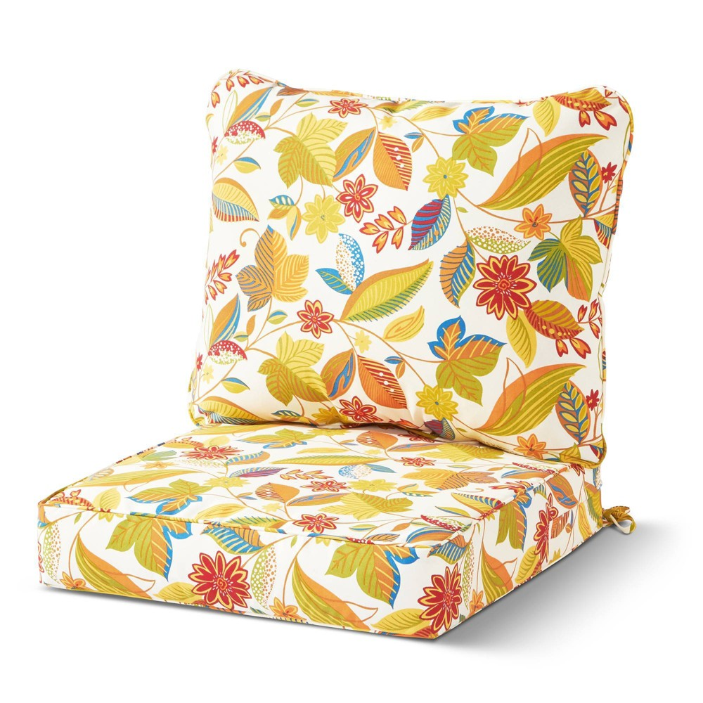 Image of 2pc Outdoor Deep Seat Cushion Set Esprit Floral - Kensington Garden