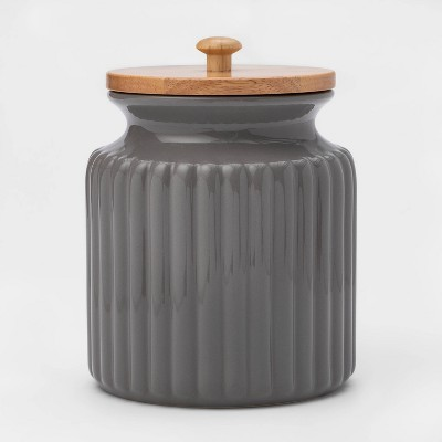 84oz Stoneware Ribbed Food Storage Canister with Wood Lid Gray - Threshold™