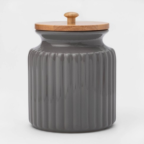 84oz Stoneware Ribbed Food Storage Canister with Wood Lid Gray - Threshold™ - image 1 of 2