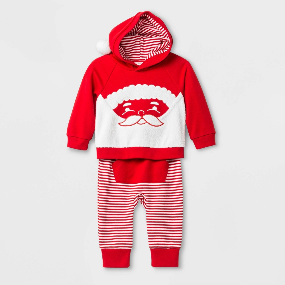 Image of Baby Boys' 2pc Santa Hooded Holiday Top & Bottom Set - Cat & Jack Red 0-3M, Boy's