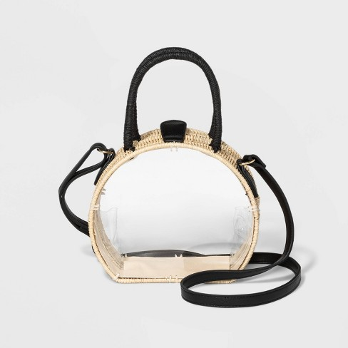 Clear Circle Crossbody Bag With Straw Trim - A New Day™ Natural - image 1 of 2