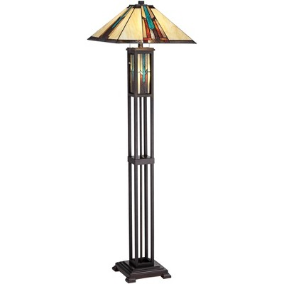 Robert Louis Tiffany Mission Floor Lamp with Nightlight LED Bronze Stained Art Glass Shade for Living Room Reading Bedroom Office
