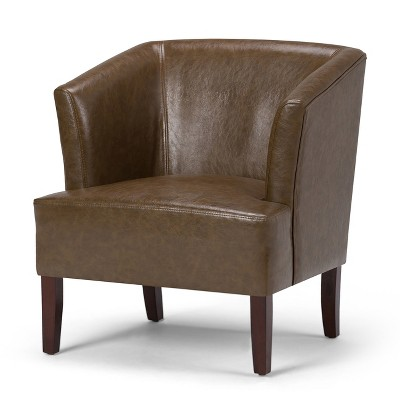 Genial Longford Bonded Leather Tub Chair   Saddle Brown   Simpli Home