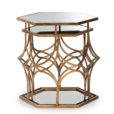 2pc Sada Finished Metal and Glass Stackable Accent Table Set Gold - Baxton Studio - image 1 of 4