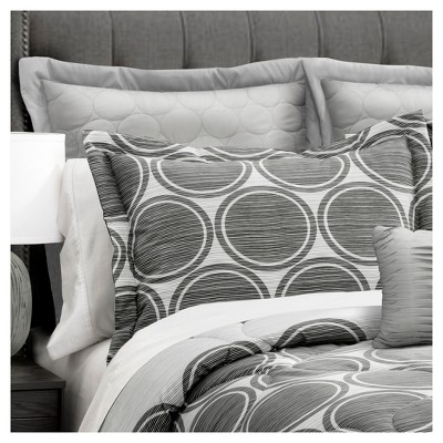Gray Textured Circle Comforter Gray Set (Full/Queen)6pc - Lush Decor®