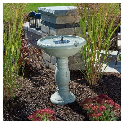 '28.75'' Smart Living Country Gardens Concrete Solar Birdbath, Gray'
