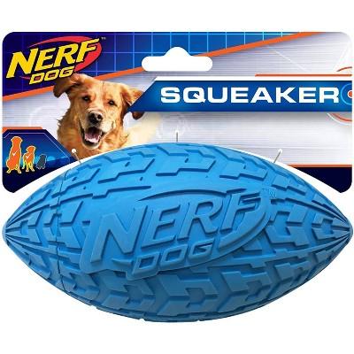 "NERF Tire Squeak Football Dog Toy - Blue - 6"""