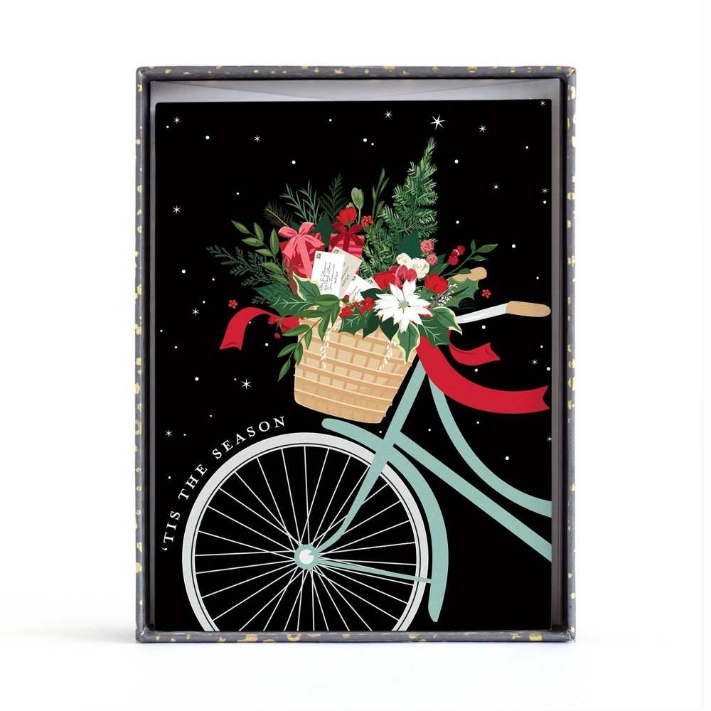 Image of 10ct Minted Floral Bike Boxed Greeting Cards