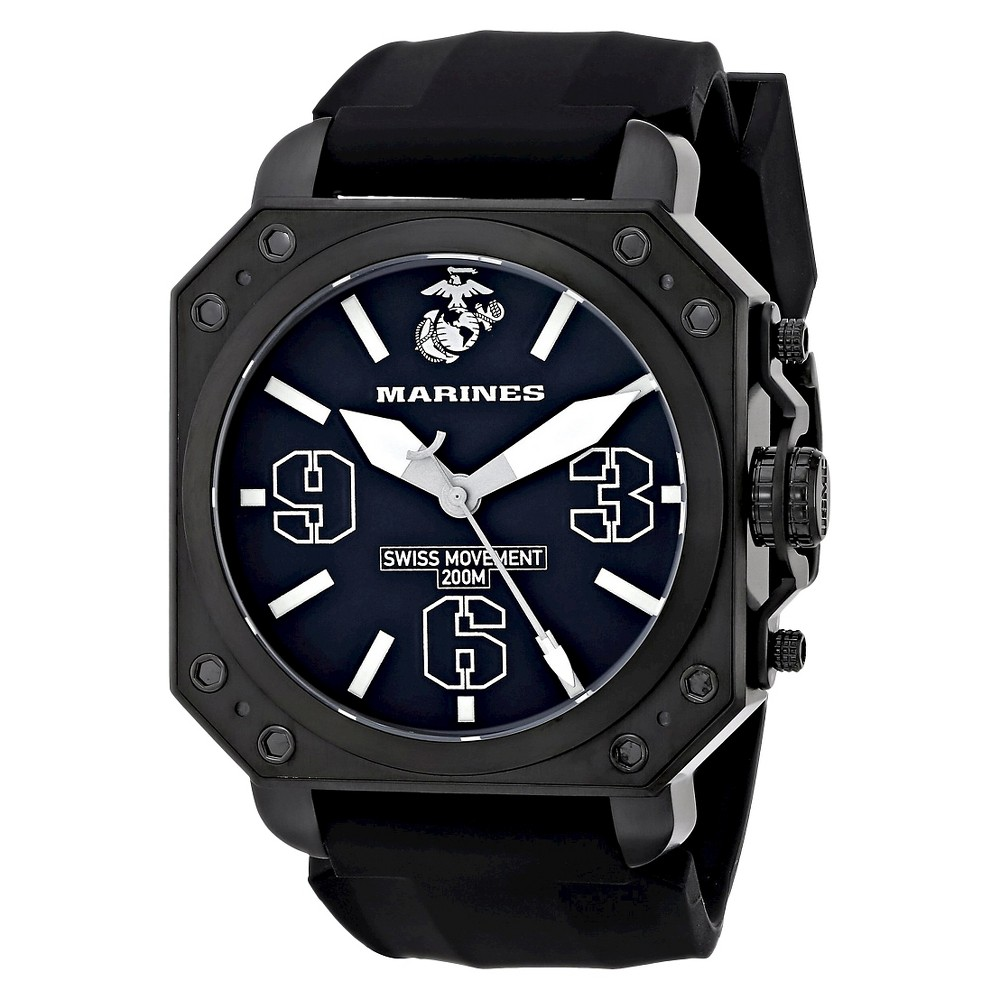 Men's' Wrist Armor U.S. Marine Corps C4 Swiss Quartz Watch - Black, Size: Small, Blue