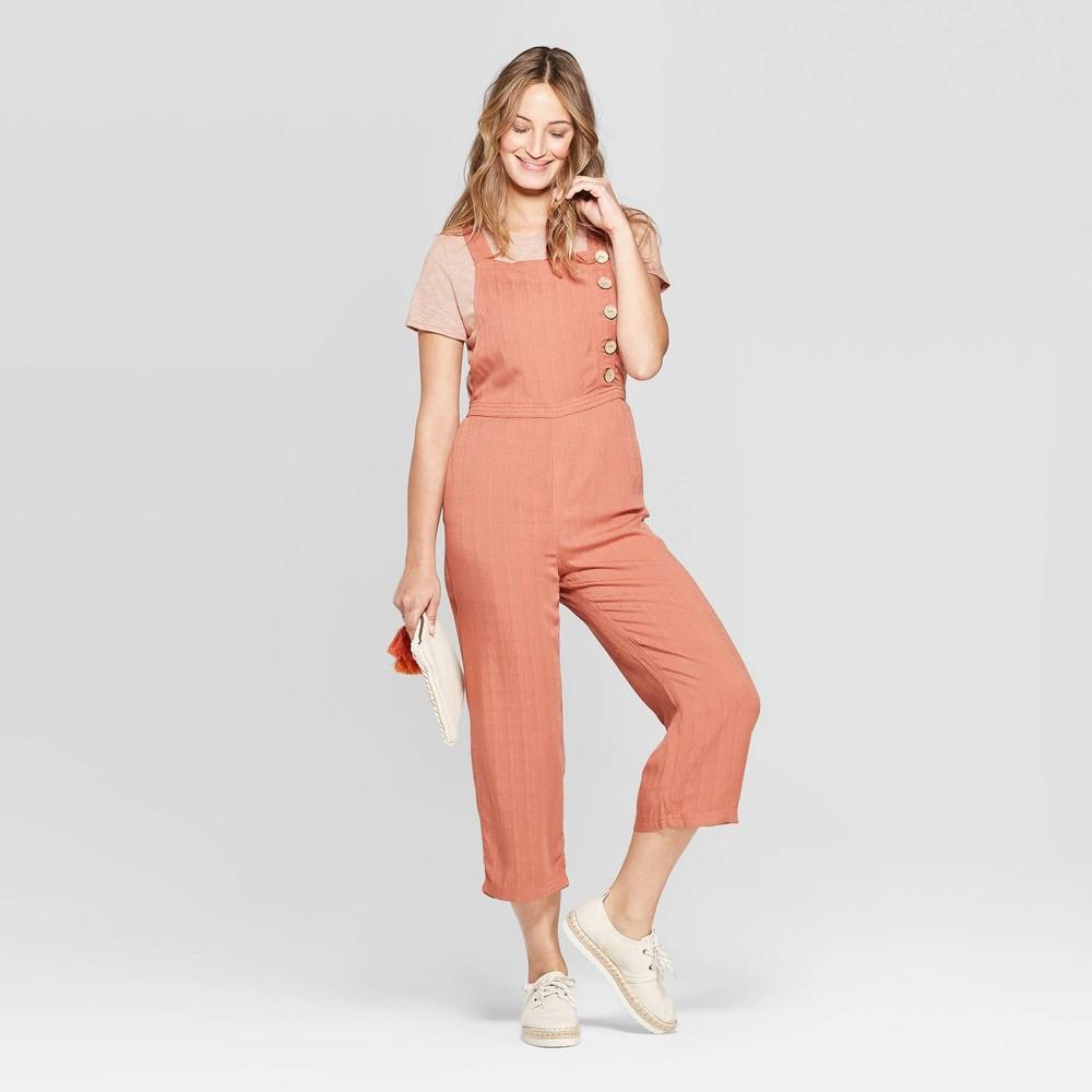 Women's Sleeveless Button Detail Wide Leg Jumpsuit - Universal Thread Orange M