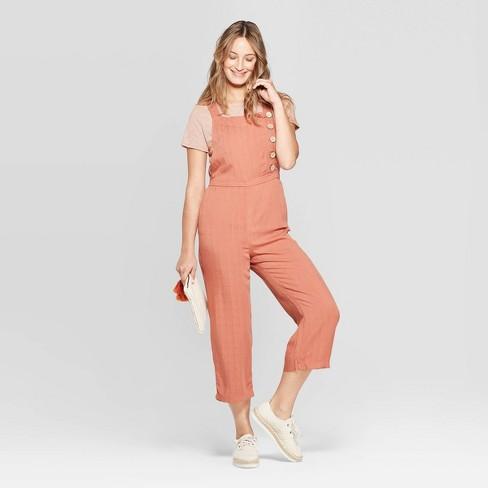 73bd2e0982c Women s Sleeveless Button Detail Wide Leg Jumpsuit - Universal Thread™  Orange   Target