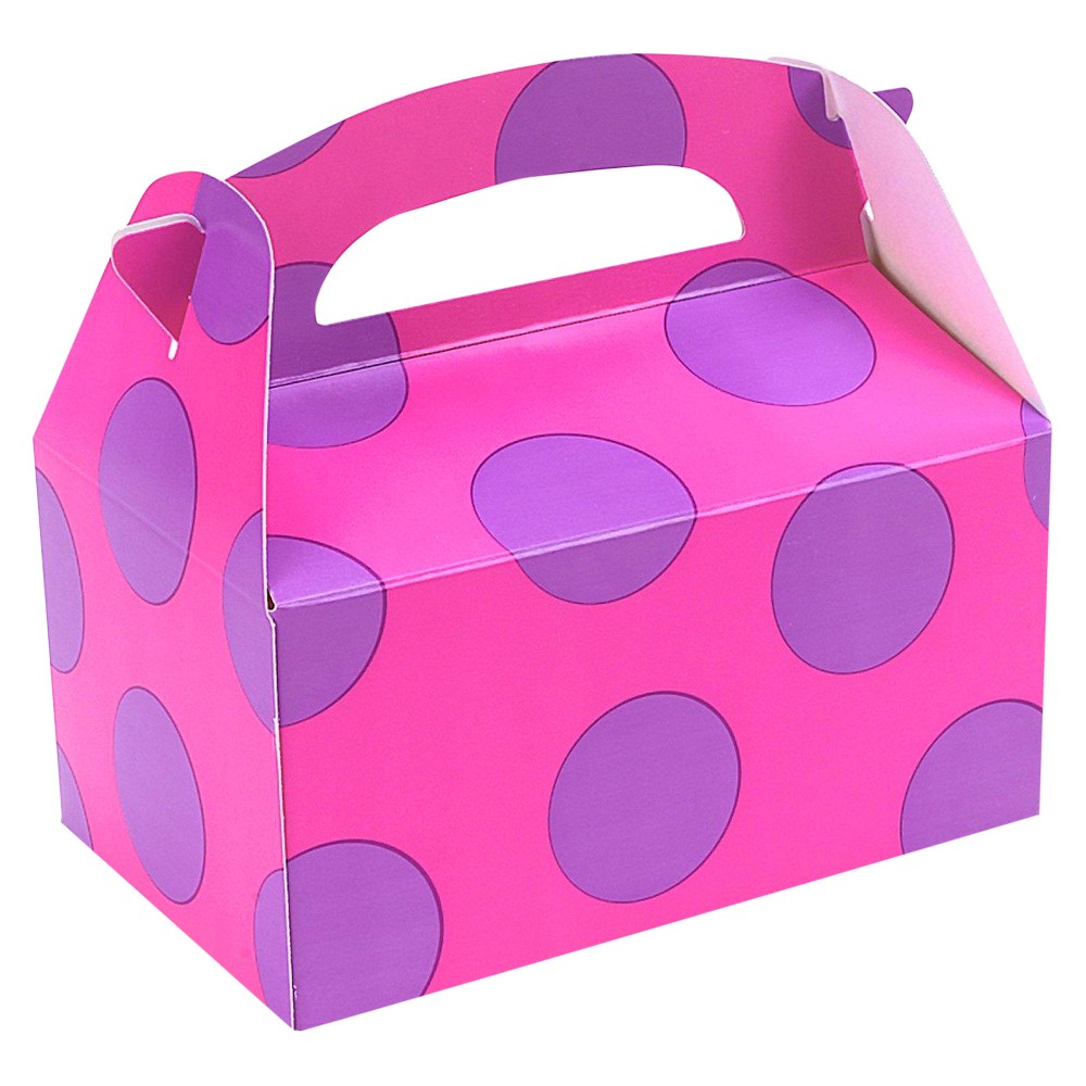 8ct Pink With Purple Big Dots Favor Boxes