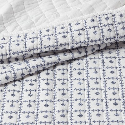 Embroidered Grid Quilt Blue - Threshold™ : Target