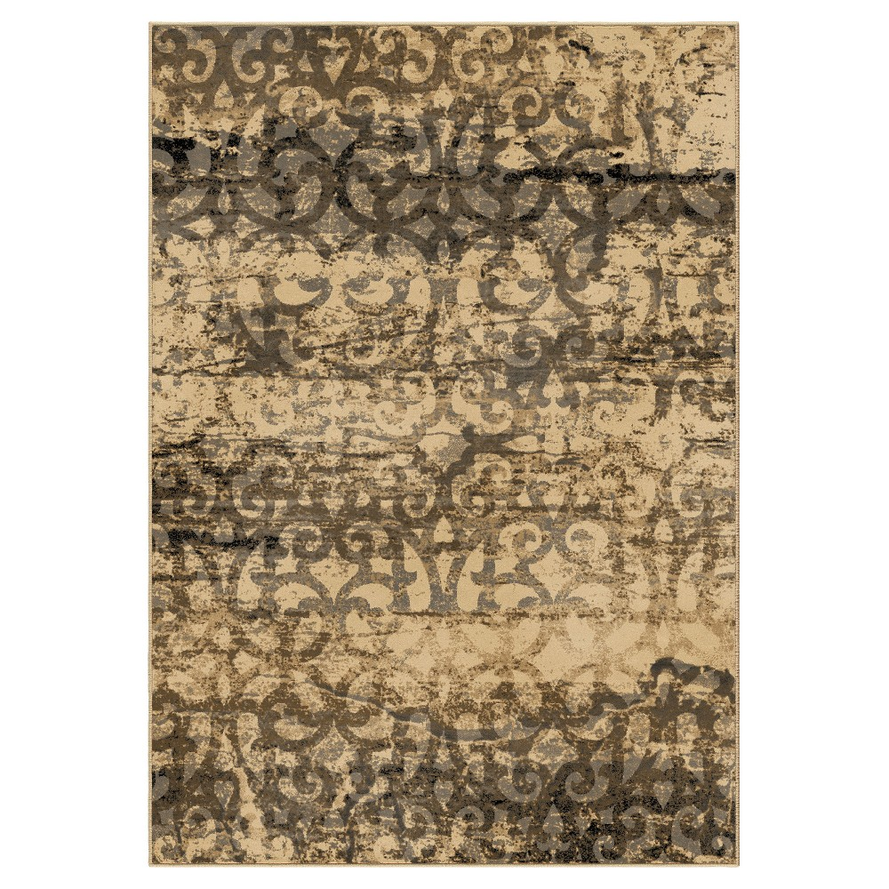 Beige Abstract Woven Area Rug - (5'3