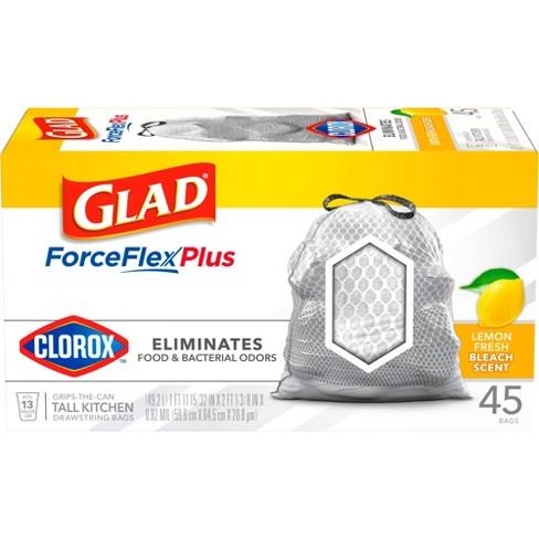 Glad ForceFlexPlus with Clorox Tall Kitchen Drawstring Trash Bags - Lemon Fresh Bleach - 13 Gallon - 45ct - image 1 of 4