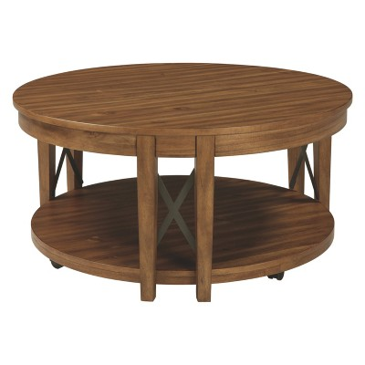 Emilander Round Cocktail Table Light Brown - Signature Design by Ashley