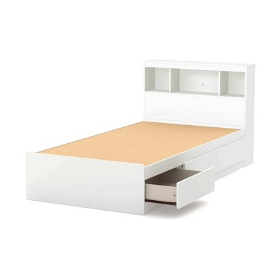 Twin Reevo Mates Bed With Bookcase Headboard Set Pure White - South Shore