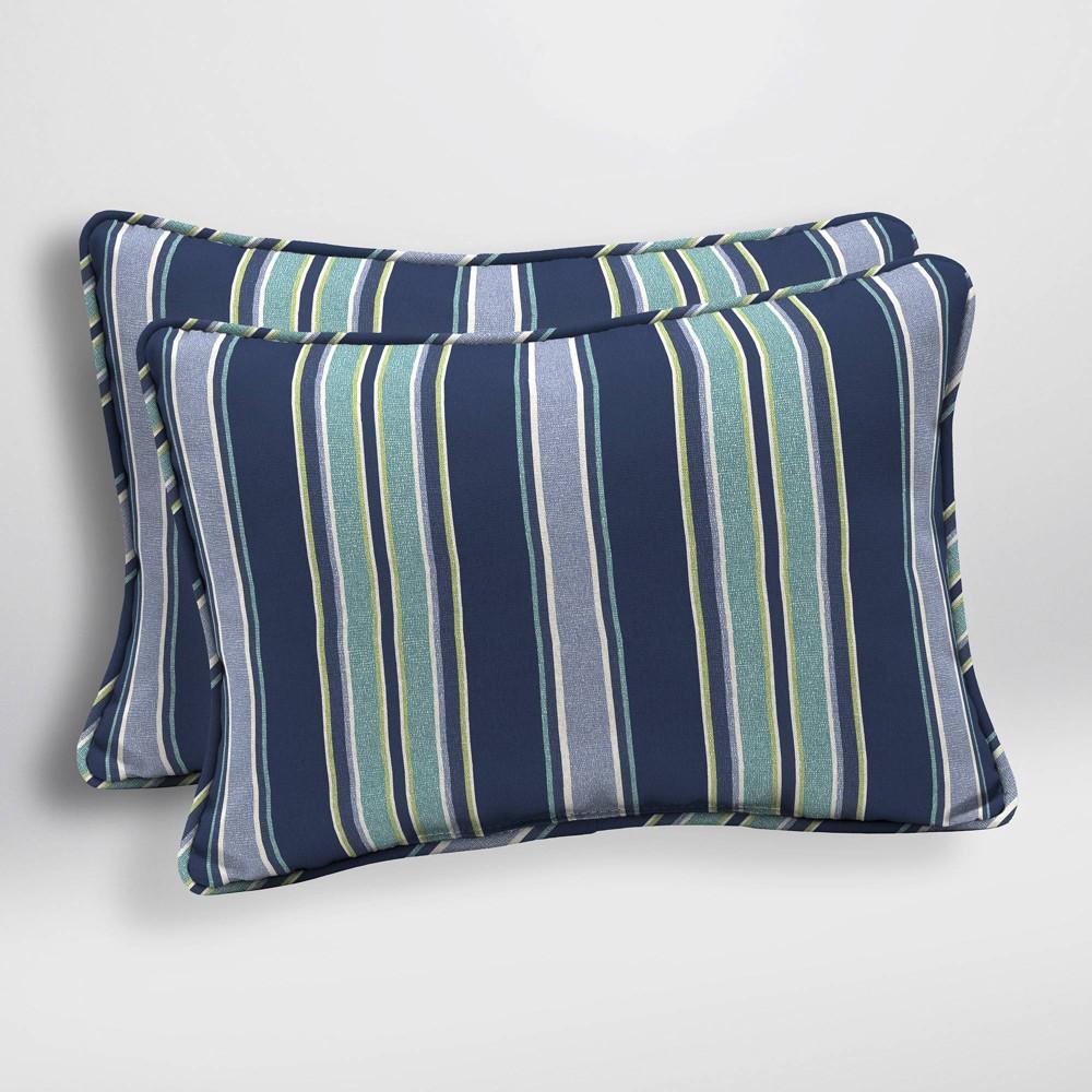 Image of 2pk Aurora Stripe Oversized Outdoor Lumbar Pillows Sapphire (Blue) - Arden Selections