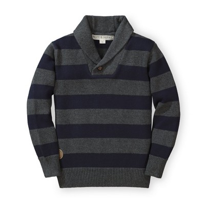 Hope & Henry Boys' Tan and Red Striped Sweater with Shawl Collar, Kids