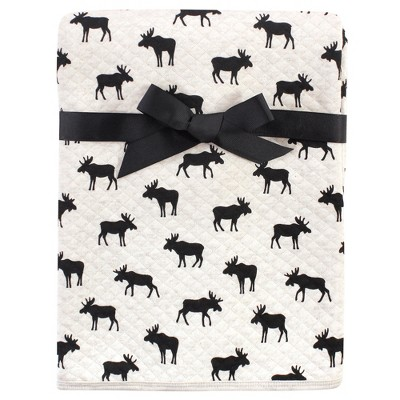 Hudson Baby Infant Boy Quilted Multi-Purpose Swaddle, Receiving, Stroller Blanket, Moose 1-Pack, One Size
