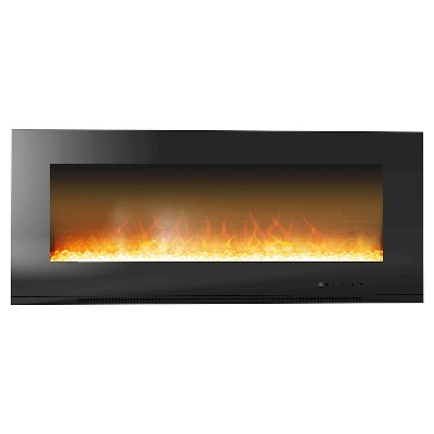 "Cambridge CAM56WMEF-1BLK Metropolitan 56"" Wall Mount Electronic Fireplace with Flat Panel and Crystal Rocks"