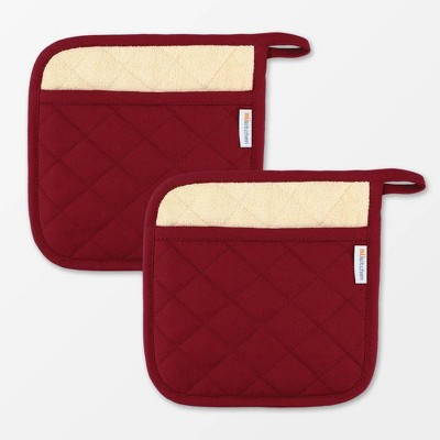 "2pk 9""x9"" Herringbone Pot holder Maroon - Mu Kitchen"