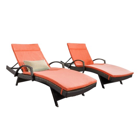 Salem Set Of 2 Brown Wicker Adjustable Chaise Lounge With