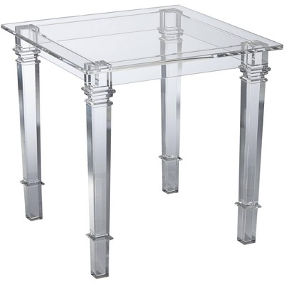 """55 Downing Street Tustin 21 1/2"""" Square Clear Lucite Acrylic End Table"""