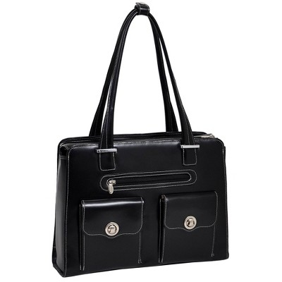 "McKlein Verona 15"" Leather Fly-Through Checkpoint-Friendly Ladies' Laptop Handbag - Black"