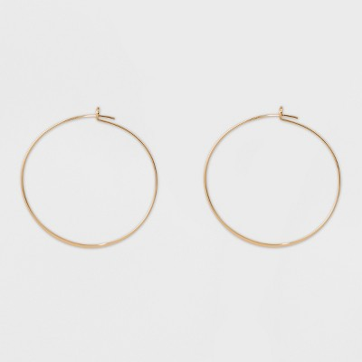 Thin Medium Hoop Earrings - A New Day™ Gold