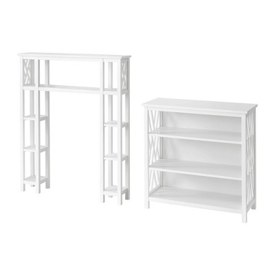 Coventry Over the Toilet Open Bath Storage Shelf with Left and Right Side Shelves White - Alaterre Furniture