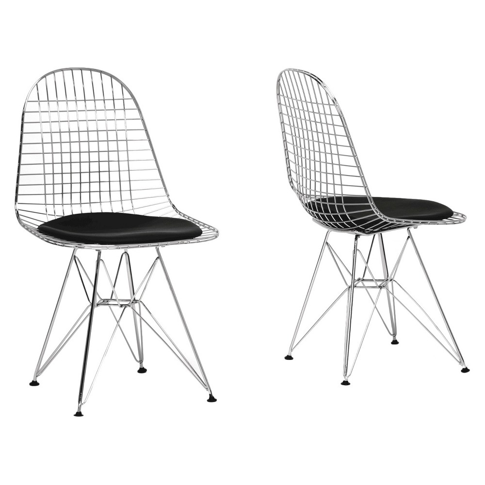 Avery Mid-Century Modern Wire Chair with Cushion - Black (Set of 2) - Baxton Studio