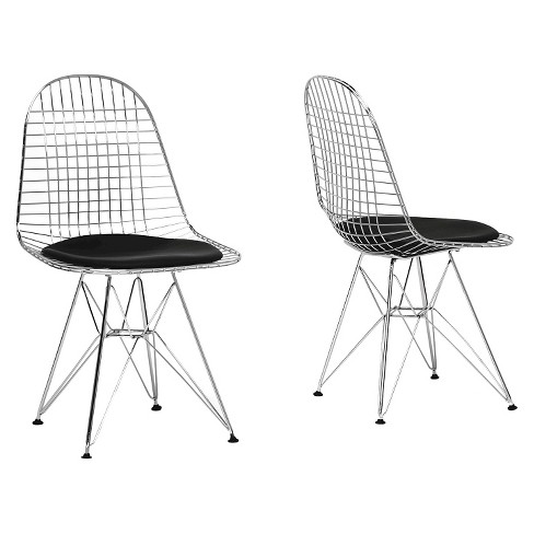 Set of 2 Avery Mid-Century Modern Wire Chair with Cushion - Black - Baxton Studio - image 1 of 3